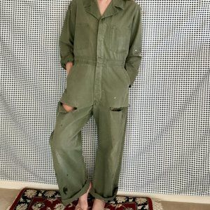 Vintage Green Long Sleeved Distressed Jumpsuit